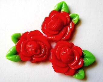 6 Red rose resin cabochons flatback kawaii jewelry making supplies 32mm 23mm  RRGL