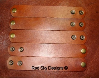 "NEW COLORS of Leather Supply Set of 5 Russet Latigo (shown) or Pick Your Favorite Leather Bracelet - 6oz - 7oz Leather Cuffs - 1 1/2"" X 9"" -"