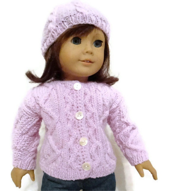 Doll Sweater and Hat Set Purple Cabled American Girl Doll