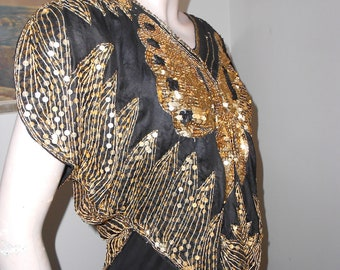 1980's Black Silk Pullover Top with Gold Sequined Butterfly & Gold Beadwork