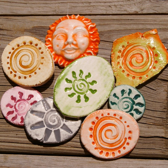 Sunshine Swirl Assortment Mosaic Tiles Pottery Handmade Tile Pieces Cabs for Mosaics or Jewelry A125