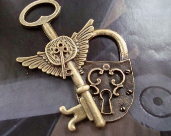 Steampunk Lock and Key Necklace Or Supply, Winged Jewelry Pendant, Just Add a Chain for Yourself or Customer