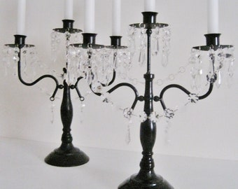 One Pair Black and Clear 3 Candle Candelabras MADE TO ORDER