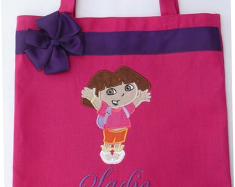 Personalized Tote Bag, Personalized Tote, Dora Tote Bag, Explorer Tote, Dora the Explorer Gift, Personalized Dora, Personalized Boots
