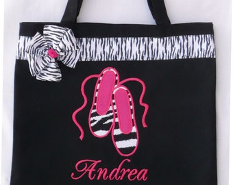 Personalized Tote Bag, Personalized Tote, Ballet Tote Bag, Zebra Slippers Tote, Ballerina Gift, Personalized slippers, Ballet gift, Dance
