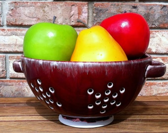 Handcrafted Ceramic Portsmouth New Hampshire Christmas Red Berry Bowl and Pasta Colander
