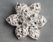 "10 Rhinestone Buttons Round 1.2"" (30mm) Diamante Crystal Hair Flower Comb Wedding Invitation Bouquet Jewelry Pillow BT078"
