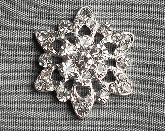 5 Round Circle Diamante Crystal Rhinestone Button Hair Flower Clip Wedding Invitation Scrapbooking Bouquet Jewelry BT028