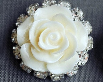 10 Rhinestone Buttons Crystal Ivory Cream Resin Rose Flower Hair Flower Comb Clip Wedding Invitation BT135