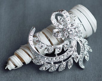 """SALE Rhinestone Brooch Component 2"""" Crystal Hair Comb Shoe Clip Pin Wedding Cake Decoration BR147"""