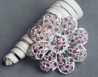 Rhinestone Brooch Component Crystal Light Rose Pink Hair Pin Comb Shoe Clip Wedding Cake Bouquet Decoration BR187