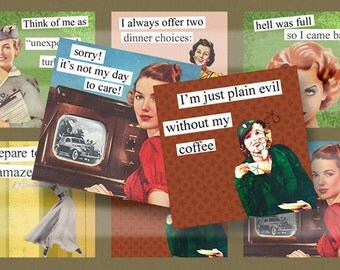 Retro Brazen Broads II Quotes 1B 4x4 Inch Coasters Digital Collage Sheet Printable Images Squares Words Sayings Typography DIY