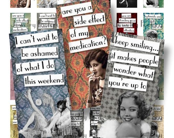 Vintage Chorus Girls Quotes 1x2 Domino Collage Sheets Scrabble Tile Digital Collage Sheet Inch Words Sayings Flappers Charleston 1920s