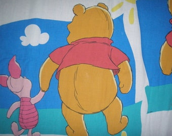 Winnie the Pooh and Piglet  FLAT  twin sheet - Reclaimed Bed Linens