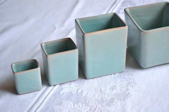 McAfee Pottery - Mid Century Nesting Vases in Turquoise - A Set of 4