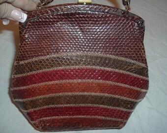 VINTAGE film star creations of  Hollywood   snake skin purse
