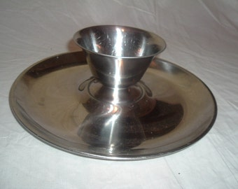 Vintage Stelton round  stainless serving tray with dip bowl  Denmark 18/8
