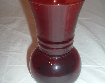 vintage ruby red glass   vase