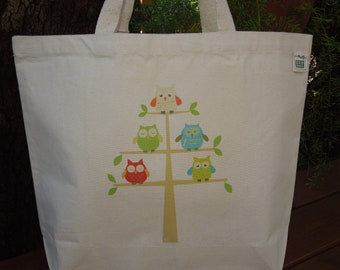 Natural cotton market tote - Large canvas tote - Reusable shopping bag - Eco friendly canvas tote -  Owls
