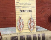 BIG SALE Book Club Earrings  made from real vintage book covers OBLONG vine in brown