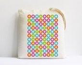 Rainbow colorful polka dots geometric decor teacher gift back to school children kids large cotton canvas tote bag eco friendly