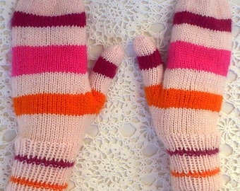 Mittens Maroon Pink Orange Rust Retro Hand Knit Striped Women Ladies Teens
