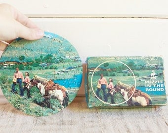 Vintage Jaymar Puzzle in the Round-Sun Valley Idaho, Over 60 Pieces