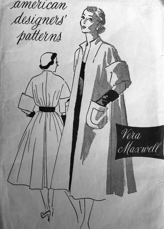 Vintage VERA MAXWELL Sewing Pattern 708 - RARE - Vintage Evening Coat - Bust 32 - Uncut