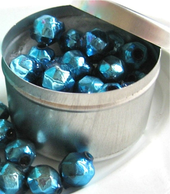 25 vintage blue mercury glass beads faceted, mercury christmas beads, blue christmas beads,