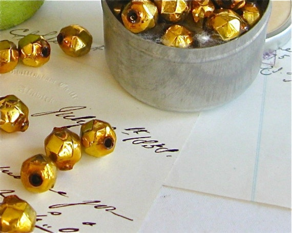 25 vintage gold mercury glass beads faceted, christmas supplies, vintage gold christmas beads,