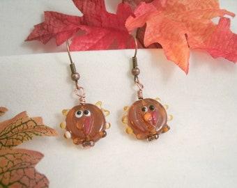 Turkey Glass Bead Earrings  Lampwork glass Antique Copper Earrings
