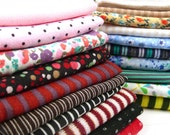 Small Print Fabric Stretch Knit Cotton Jersey 10 Pc Mini Print Fabrics Random Mix Ideal for Doll Socks