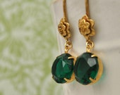 EMERALD vintage clear backing green glass earrings with golden raw brass flower french ear wires