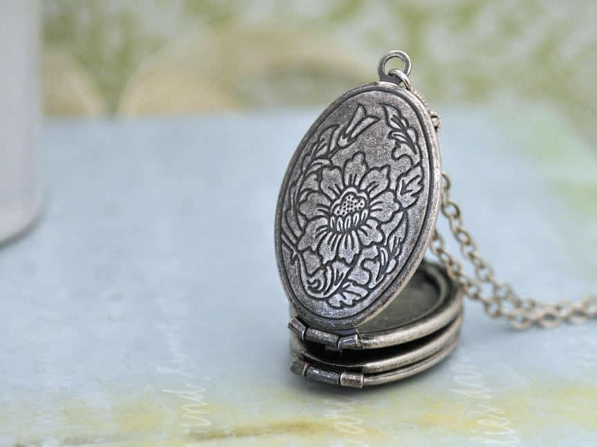 vintage camellia antiqued silver locket necklace with layered