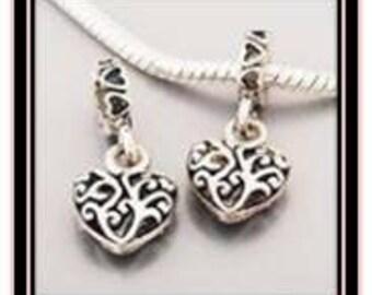 Scroll Heart Bead Dangle - Fits European Style Bracelets