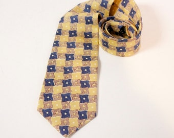 Vintage 1960s Silk Necktie Yellow and blue by Givenchy Monsieur