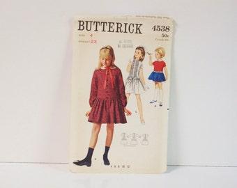 Vintage 1960s Butterick Girls One piece  Dress Pattern 4538 Size 4