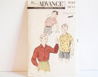 Vintage 1950s Advance Boys Shirt Pattern Pattern 8166 Size 4 - 6
