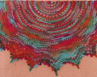 Easy knitting pattern Gypsy Lace-Your First Knitted Lace Shawl use worsted weight yarn PDF download