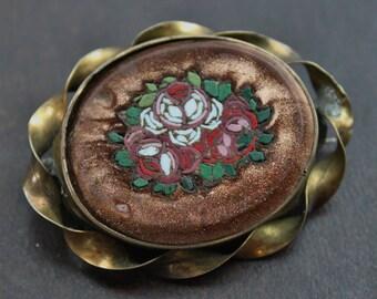 Large Victorian Aventurine Goldstone Pietra Dura Micro Mosaic Brooch