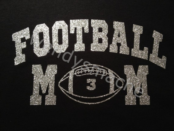 Items Similar To Women S Football Mom Glitter Vinyl Tshirt