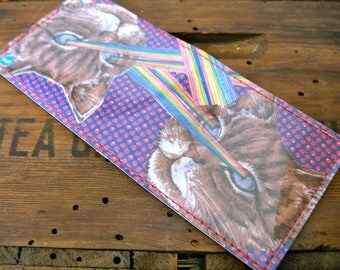 Handmade Billfold Vinyl Art Wallet - Lasercat Pride - Proton Purple