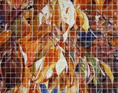 Watercolor Painting Mosaic-  Original Leaves Painting- Cut Into Squares- Watercolour- 12x16- Altered Paper- Fine Art
