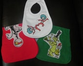 Dr Seuss inspired Baby Burp Cloth and Bib set of 3 not a licensed product