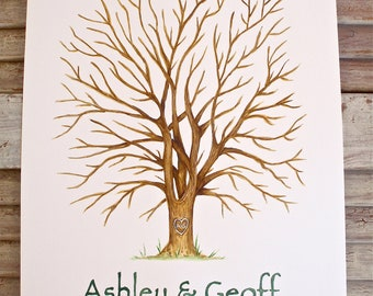 X-Small Hand Painted Alternative Fingerprint Guest book Tree, with 2 ink pads and pen