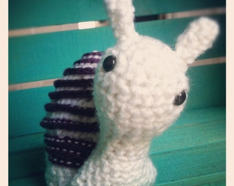 Ready to Ship! Crocheted Snail Doll in White and Purple