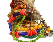 Fiesta Cuff - Mixed Bead Boho Copper Bracelet