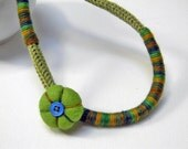 Wool yarn necklace for kids and teen girls, grass, sage, forest green, felt flower, yarn jewelry, kids jewelry