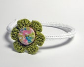White and grass green  knitted cotton yarn headband for children and teen girls, kids accessories, crocheted flower