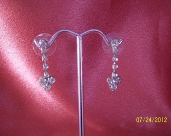 Vintage Petite Rhinestone Drop Earrings
